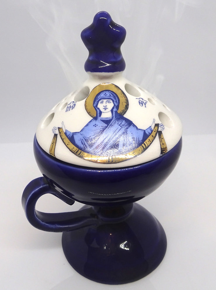 Orthodox Ceramic Hand Incense Burner with Lid - anastasisgiftshop.com