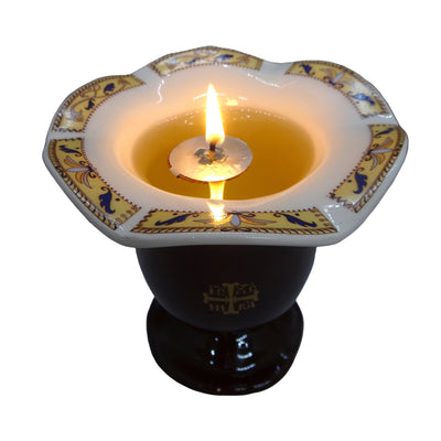 Orthodox Ceramic Oil Burner with the Greek Byzantine Cross - anastasisgiftshop.com