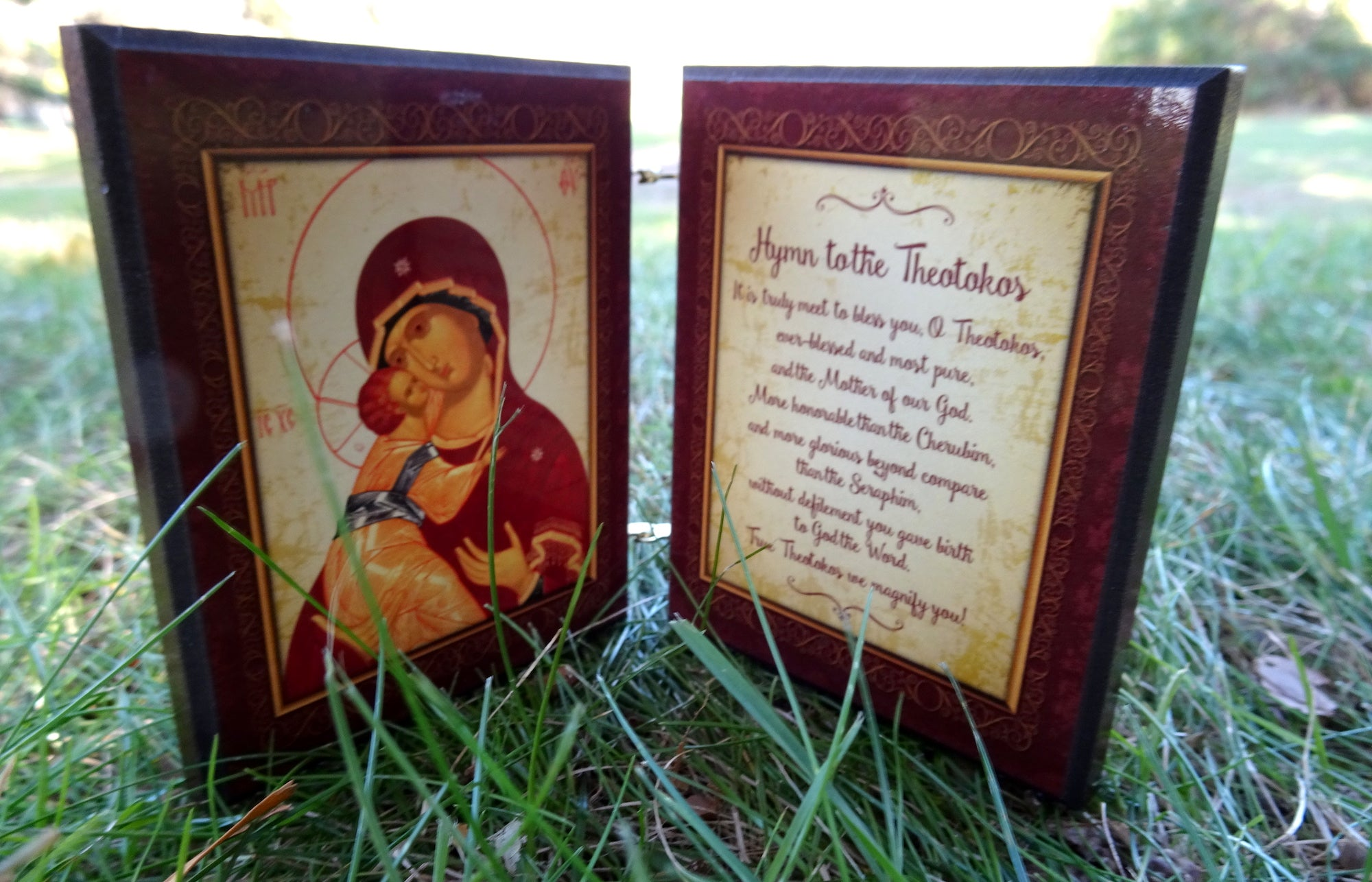 Wooden Orthodox Icon Diptych with the Hymn to the Theotokos