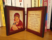 Wooden Orthodox Icon Diptych with the Hymn to the Theotokos - anastasisgiftshop.com