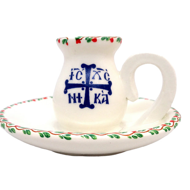 Greek Orthodox Ceramic Holder for Small Size Candle - anastasisgiftshop.com