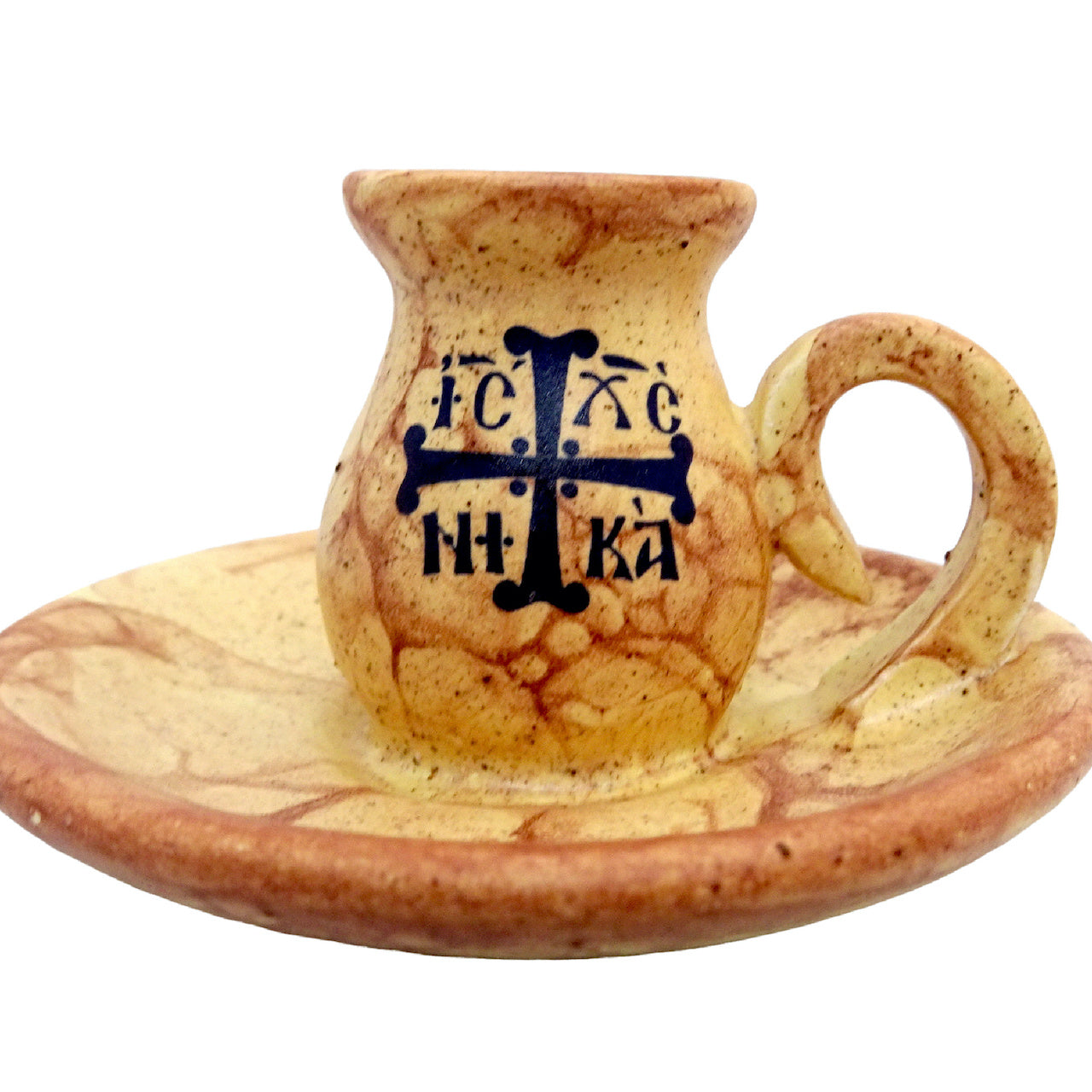 Greek Orthodox Ceramic Holder for Small Size Candle