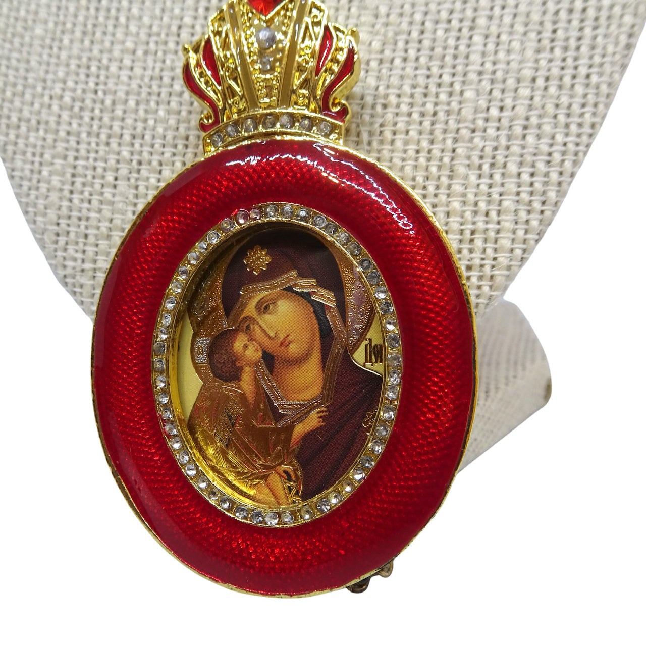 Faberge Style Icon Christmas Tree Ornament of the Holy Theotokos