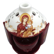 Greek Orthodox Ceramic Vigil Lamp with the image of the Holy Theotokos in Burgundy Color - anastasisgiftshop.com