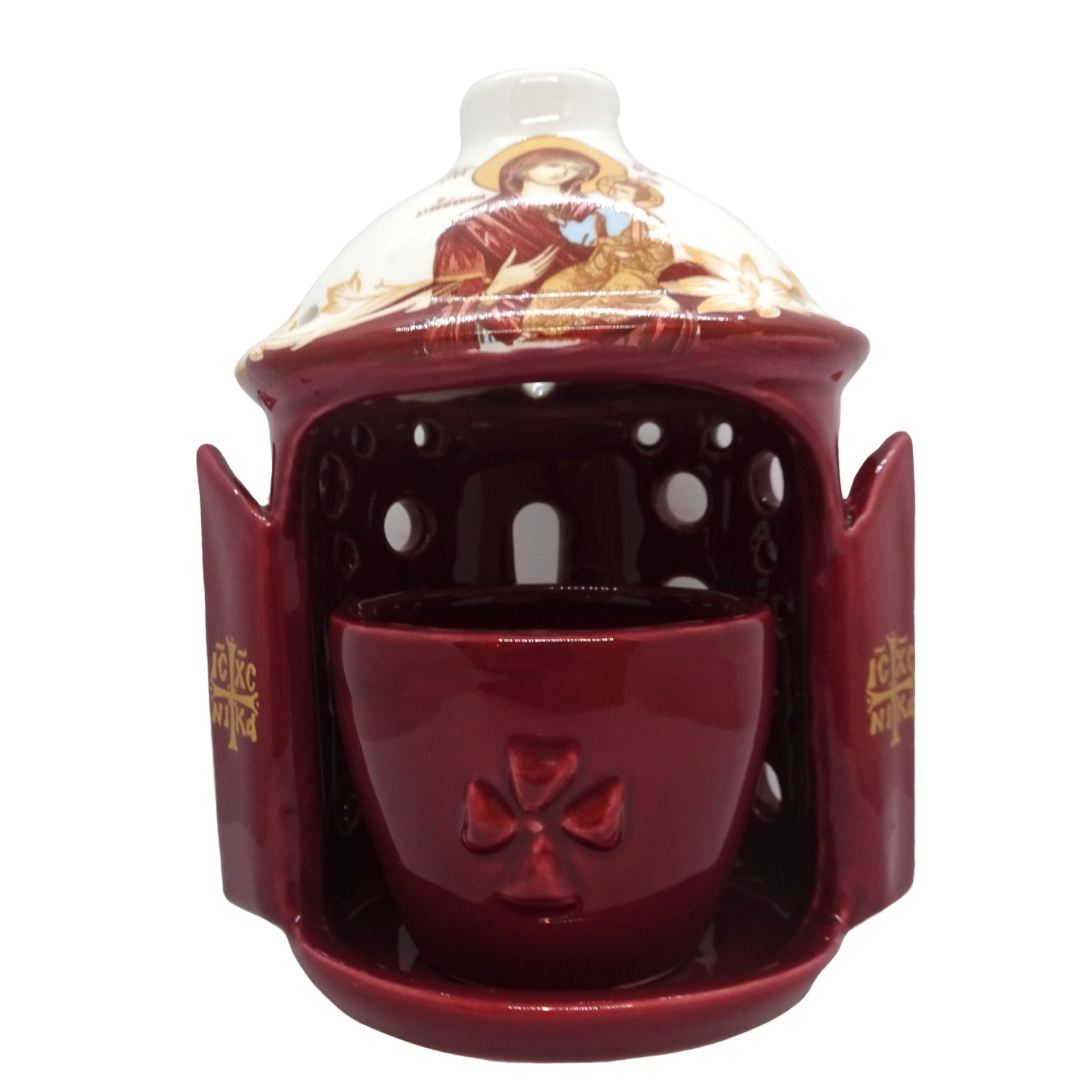 Greek Orthodox Ceramic Vigil Lamp with the image of the Holy Theotokos in Burgundy Color