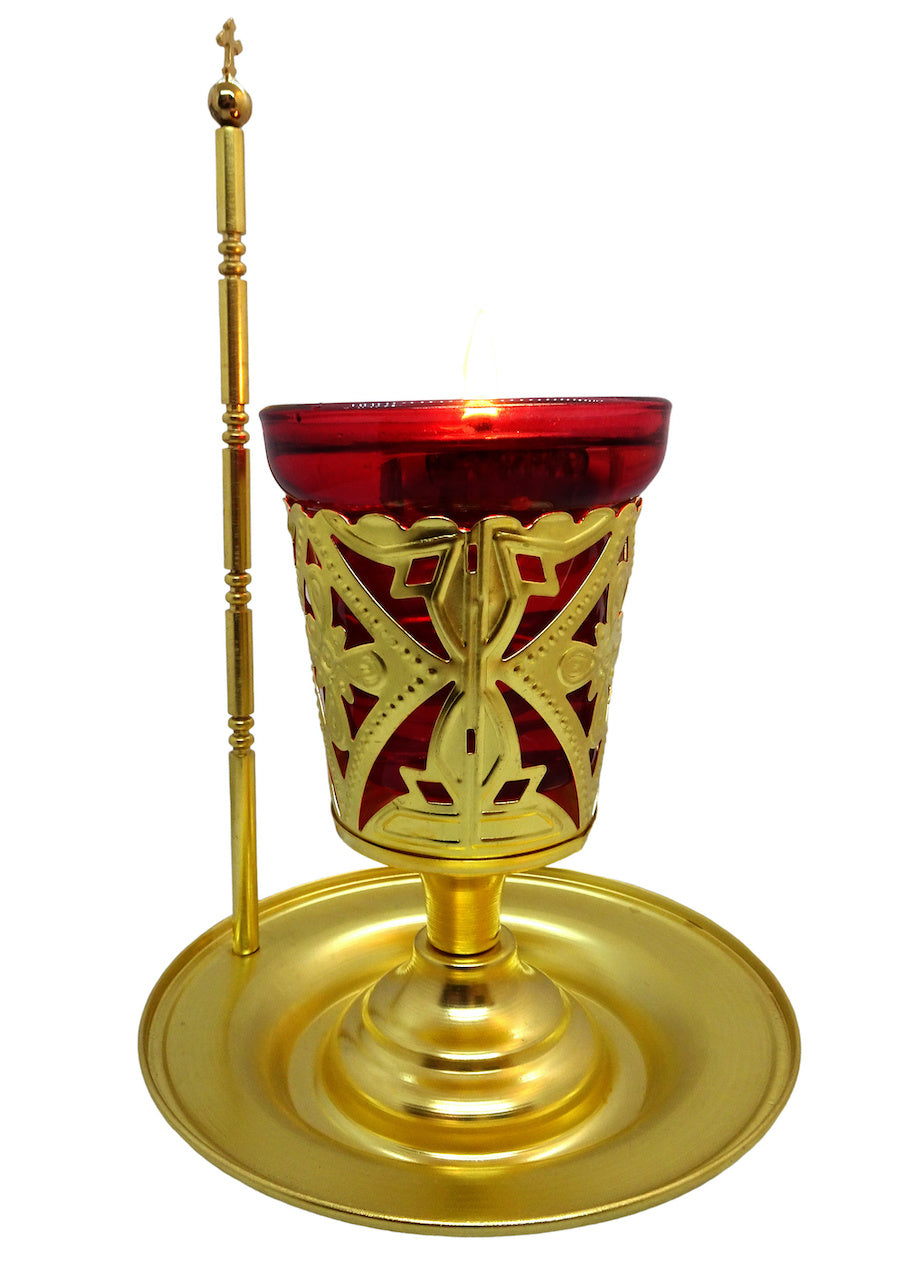Greek Orthodox Brass Vigil Lamp with Wooden Icon of Jesus Christ and Home Blessing Prayer