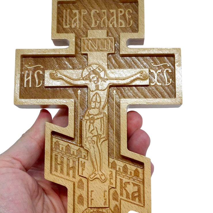 Orthodox Wall Wood Cross with the Carved Image of Jesus Christ - anastasisgiftshop.com