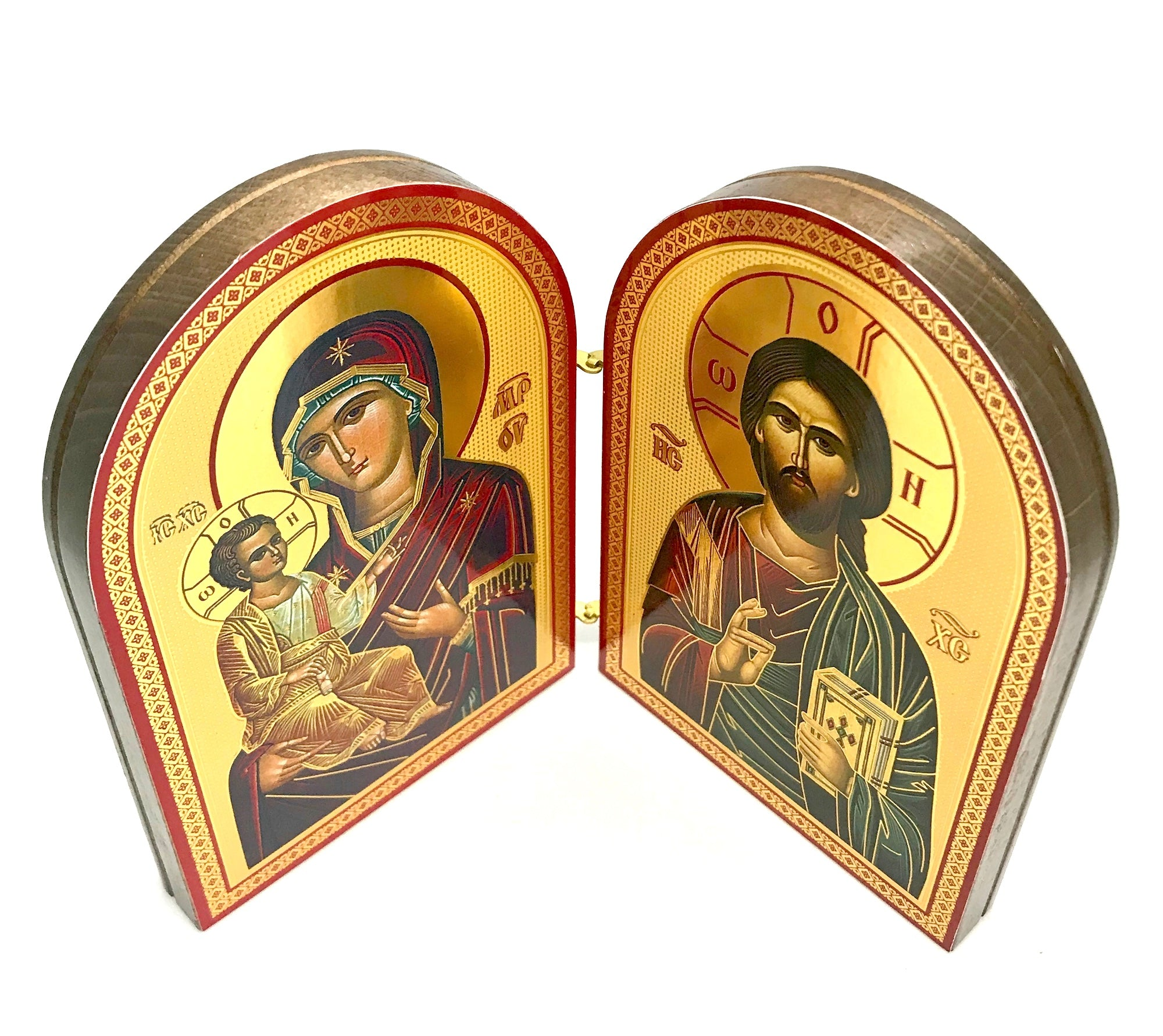 Greek Orthodox Icon Diptych of Jesus Christ and Holy Theotokos