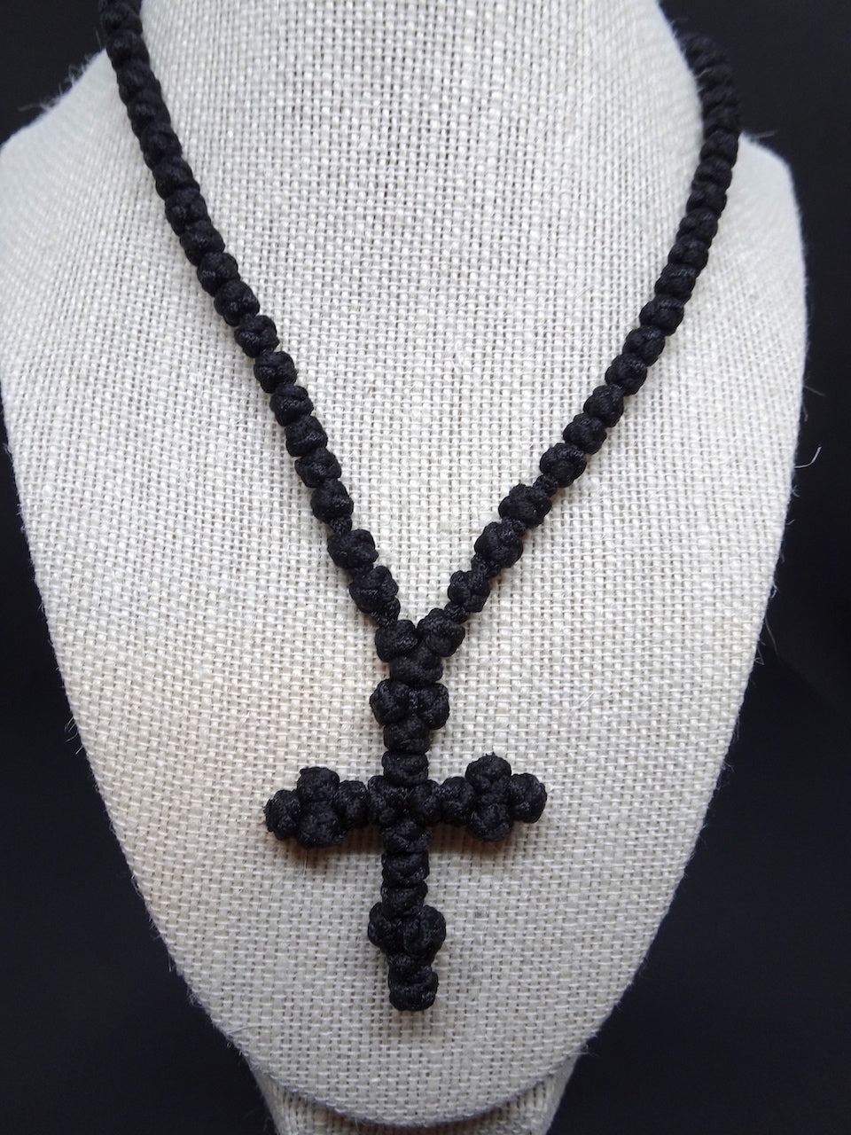 Handmade Orthodox prayer rope with 100 knots in black color