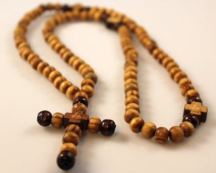 Handcrafted Olive Wood Necklace Rosary Beads