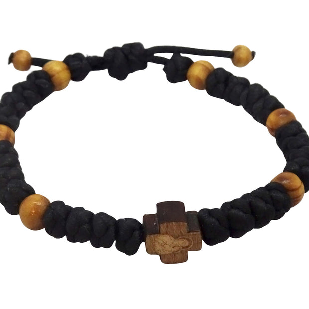 Adjustable Multicolor Bracelet with Wooden Orthodox Cross - anastasisgiftshop.com