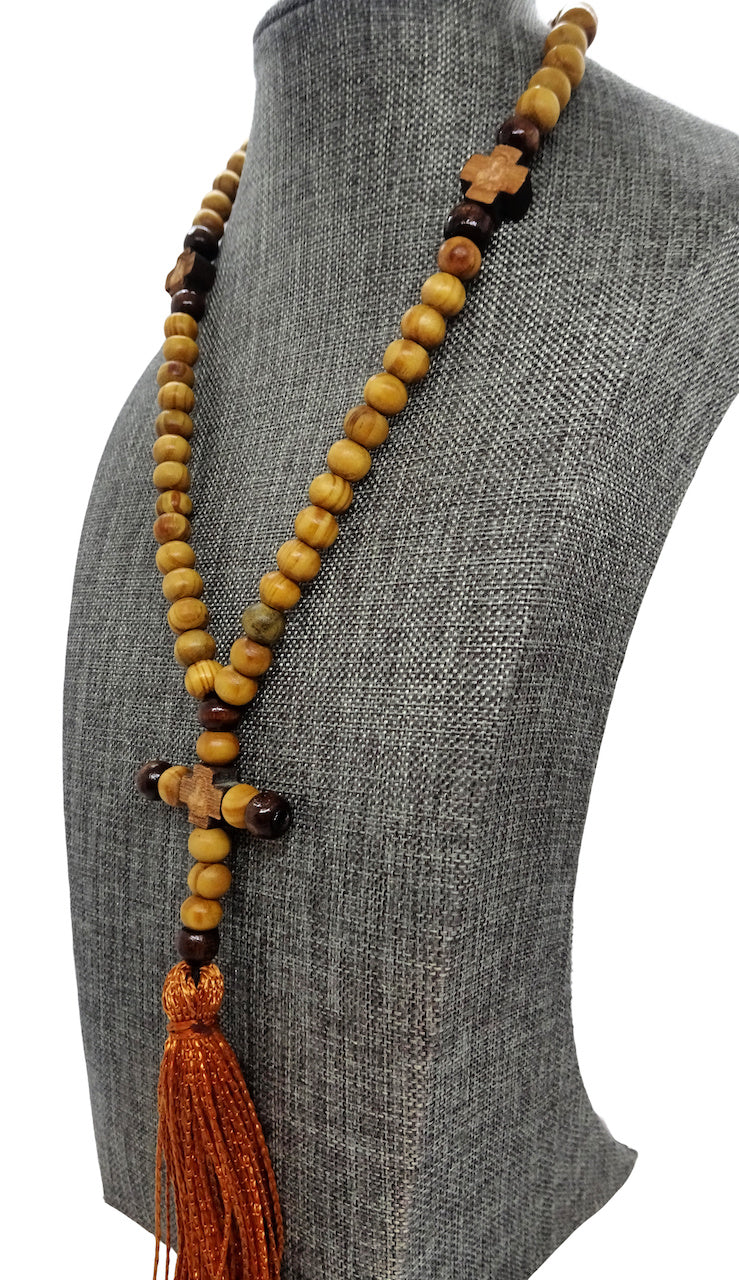 Olive Wood Rosary Prayer Rope with Tassel and 60 Beads