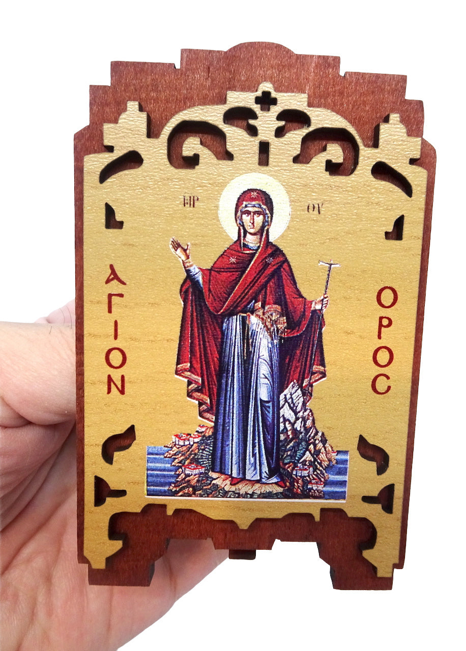 "Orthodox Wooden Icon of the Holy Theotokos ""The Protector of the Agion Oros"""