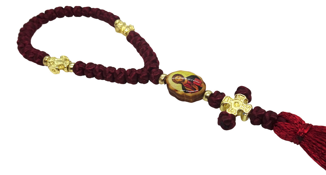 33 knots Orthodox Christian Prayer Rope with Double Side Icons
