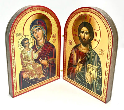 Greek Orthodox Icon Diptych of Jesus Christ and Holy Theotokos - anastasisgiftshop.com