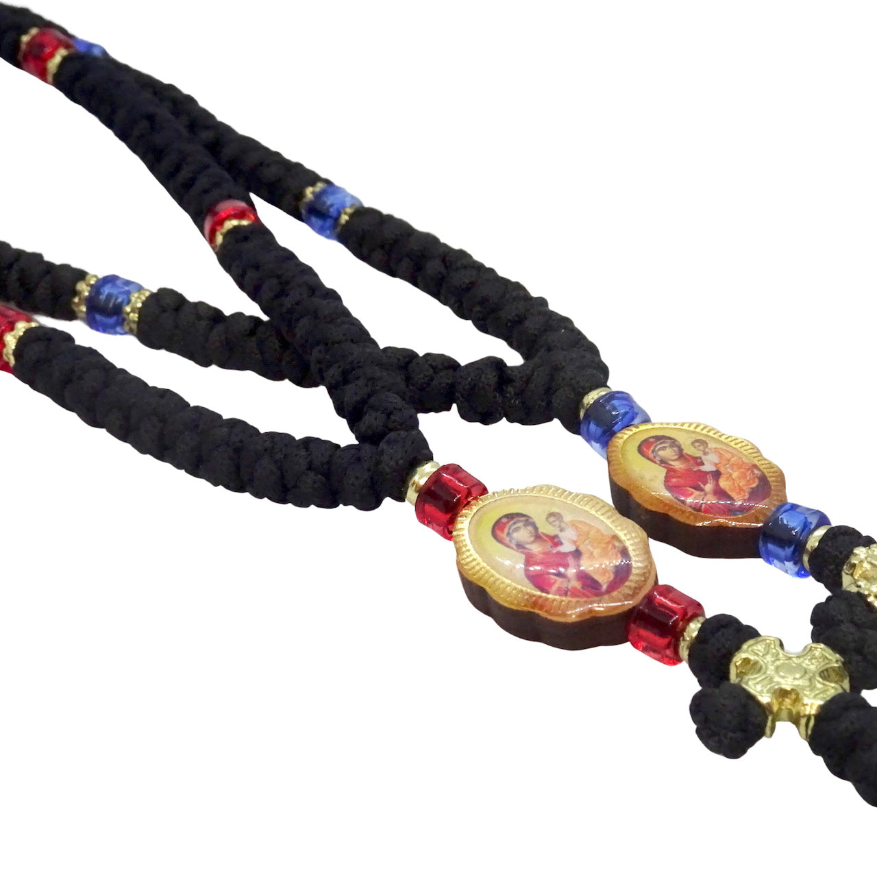 Orthodox Prayer rope with 60 knots and double-sided Icons of Jesus Christ and Mother of God