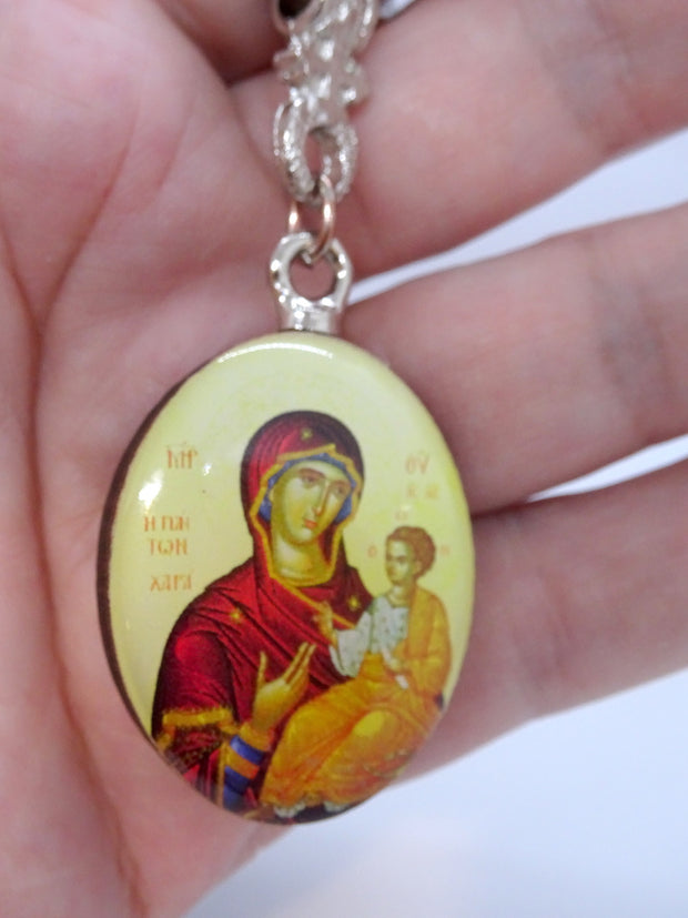 Wooden Keychain with Greek Orthodox Icon Pendant and Cross - anastasisgiftshop.com