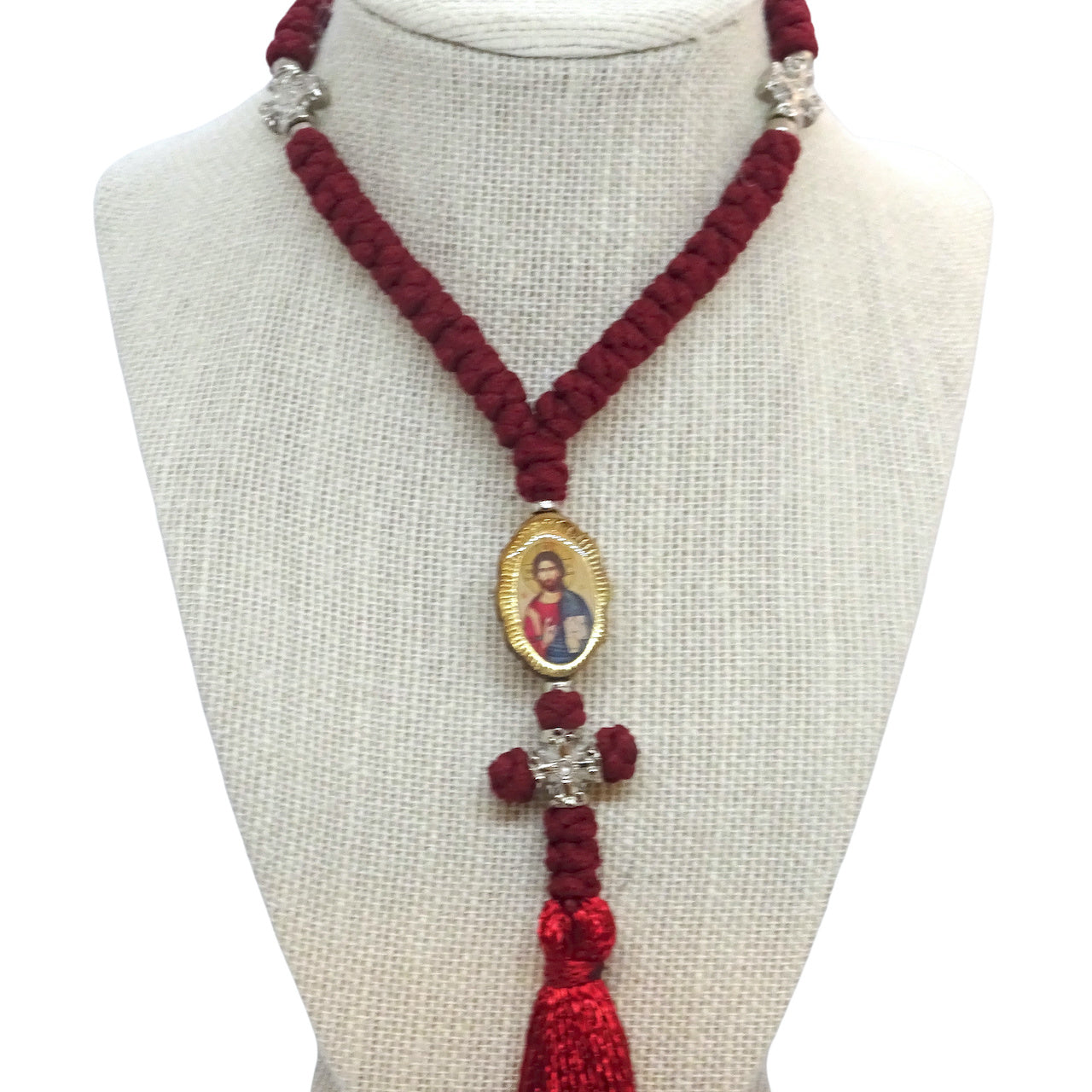 Orthodox Christian Prayer Rope with 50 Knots and Silver-Tone Cross