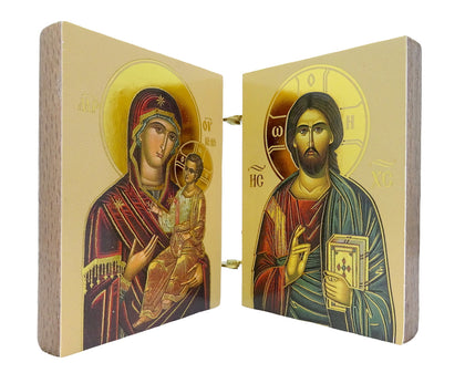 Mini Orthodox Christian Diptych with Icon of Virgin Mary and Jesus Christ