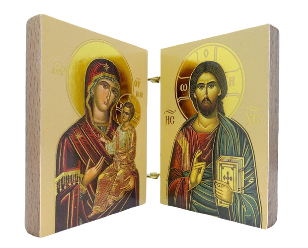 Mini Orthodox Christian Diptych with Icon of Virgin Mary and Jesus Christ - anastasisgiftshop.com
