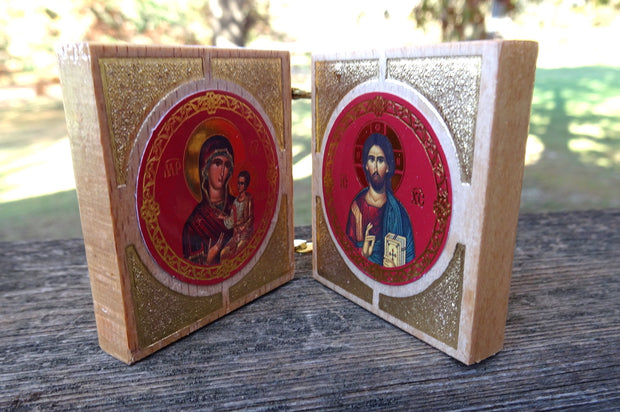 Small Greek Orthodox Icon Wooden Diptych - anastasisgiftshop.com