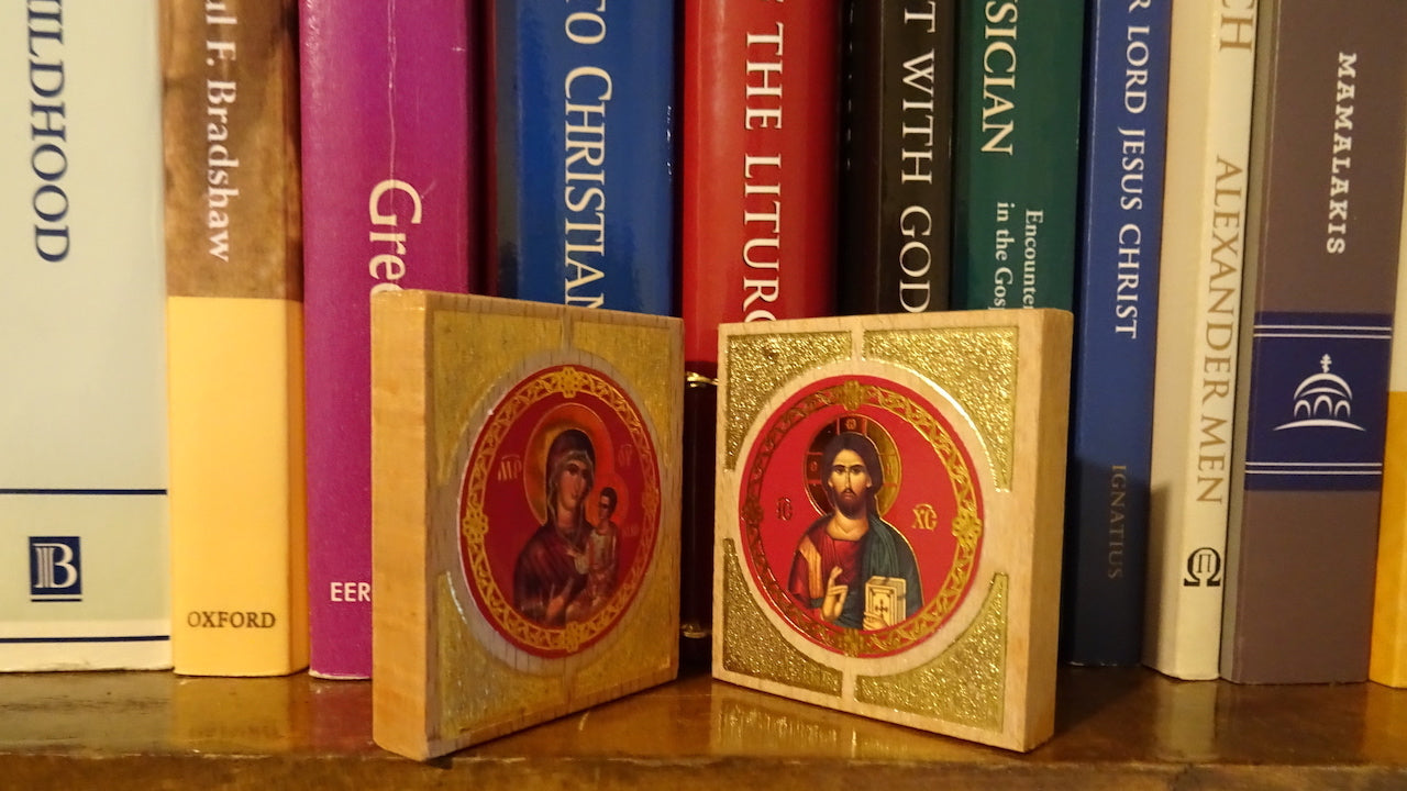 Small Greek Orthodox Icon Wooden Diptych