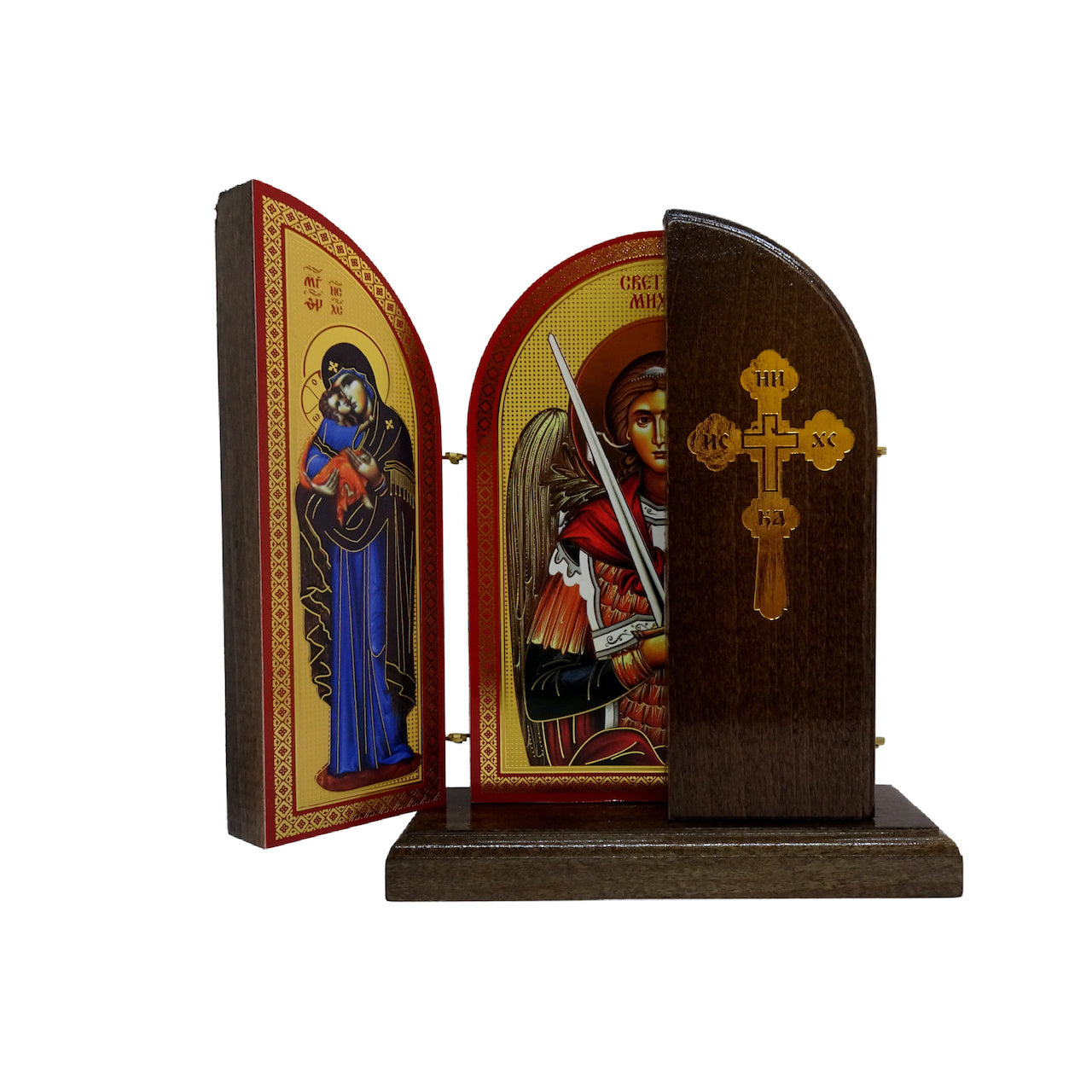 Saint Archangel Michael Orthodox Wooden Triptych with the Orthodox Byzantine Icons of Jesus Christ and Holy Theotokos