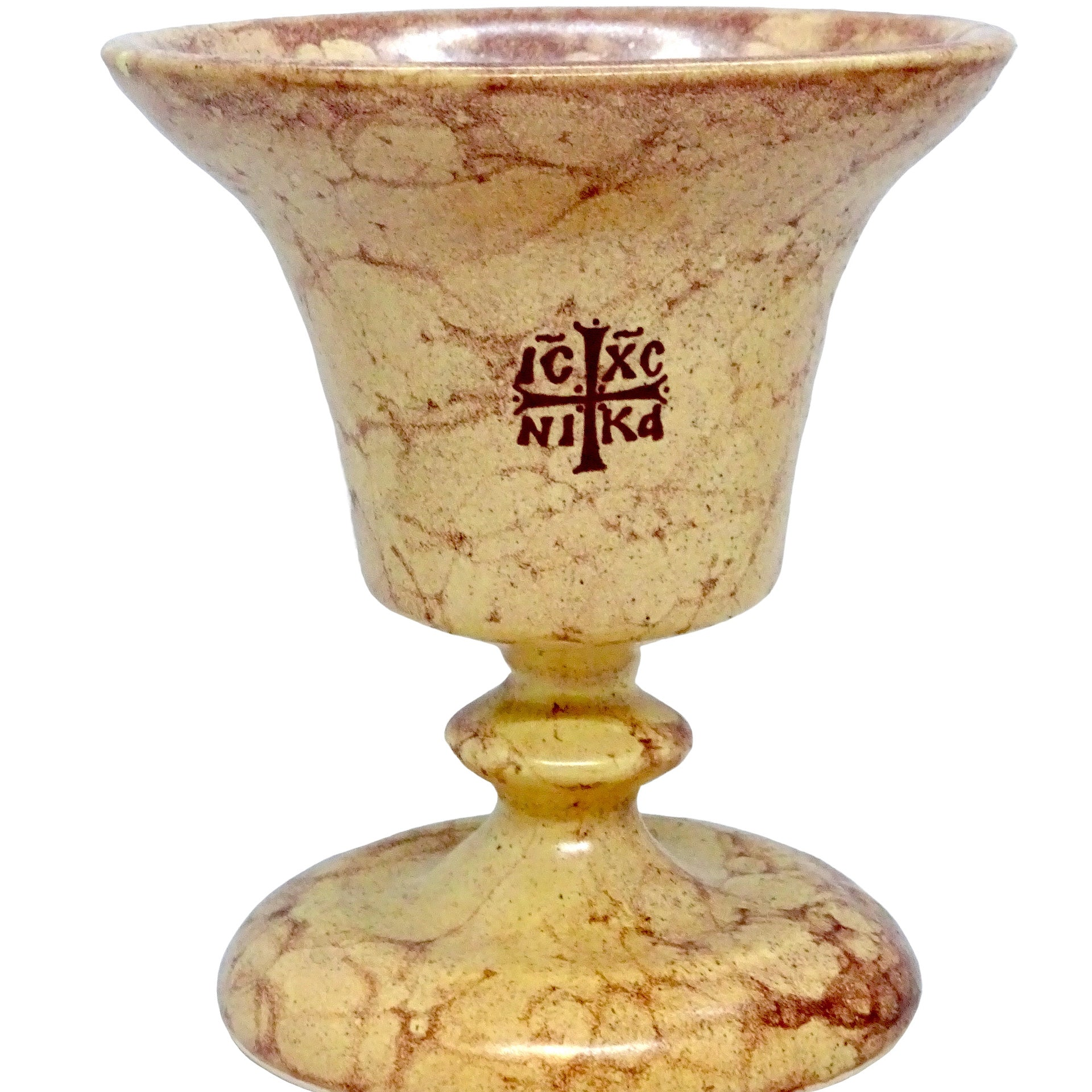 Tabletop Orthodox Ceramic Vigil Lamp in Ivory-Beige Color with the image of the Byzantine Cross
