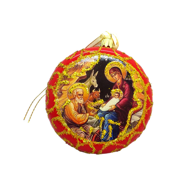 Ukrainian Christmas Tree Round Icon Ornaments