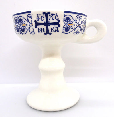 Ceramic Incense Burner with a Decorative Orthodox Byzantine Cross - anastasisgiftshop.com