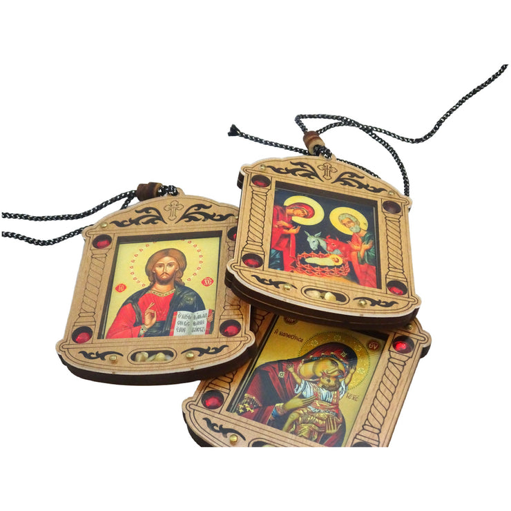 Christmas Tree Wooden Russian Orthodox Icon Ornaments