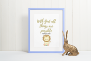 "Digital Wall Art Bible Verse ""With God all Things are Possible"" - anastasisgiftshop.com"