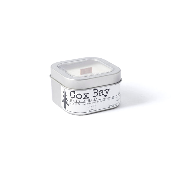 Cox Bay 4oZ wood wick travel candle