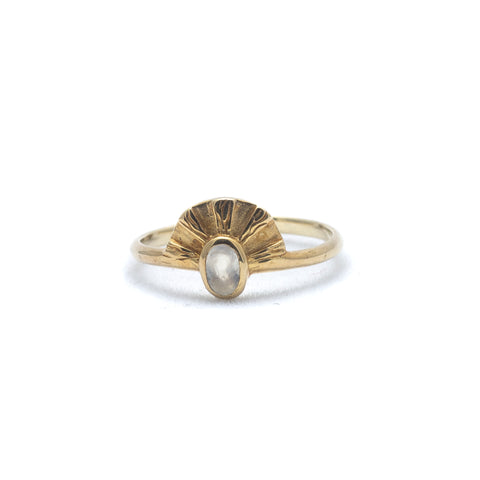 Aten Ring | Gold Vermeil and Moonstone size 7
