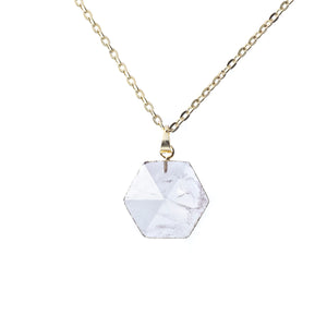 Moonstone Hexagonal Gold Necklace