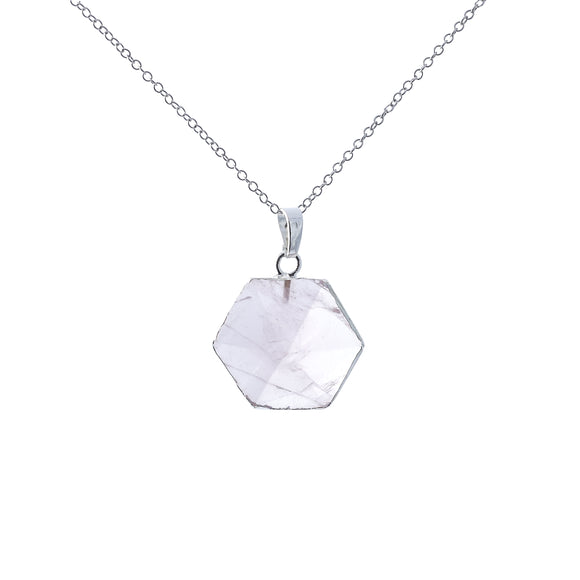 Moonstone Hexagonal Silver Necklace