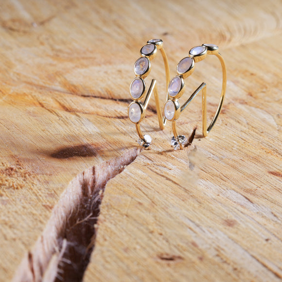 The Moonstone Monarch Hoops | Gold Vermeil