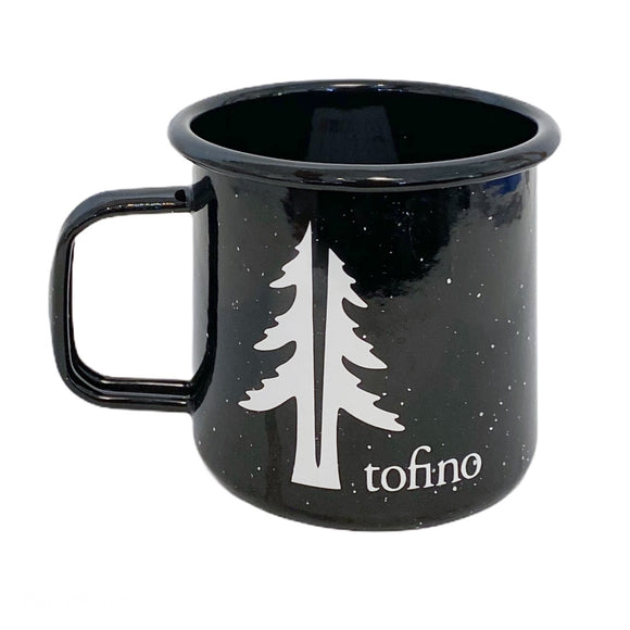 Two Trees 16oZ enamel camping mug Black