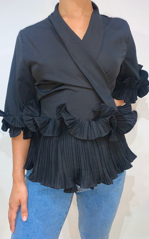Black Ruffle Detail Blouse - nicolexlondon