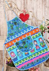 Apron with Front Pocket 100% Cotton, Russian Dolls, Matryoshka