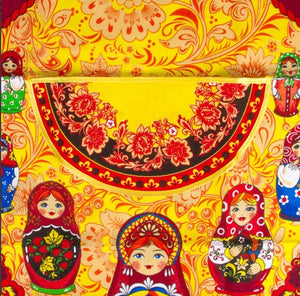 Apron with Front Pocket 100% Cotton Russian Dolls Matryoshka Red Import