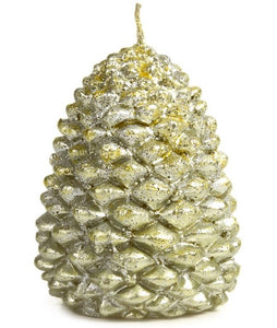 Wax Candle Handmade Gold Pine Cone Shape with Glitter Decorative Import