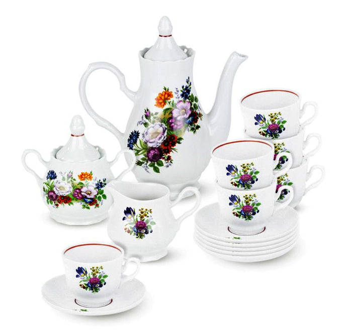 Flower Bouquet 15-Piece Porcelain Handmade Tea/ Coffee Set Service for 6 Persons