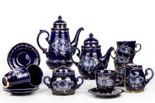 Load image into Gallery viewer, Enchantress 16-pc Dark Blue Gzhel Porcelain Tea and Coffee Set