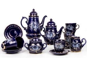 Enchantress 16-pc Dark Blue Gzhel Porcelain Tea and Coffee Set