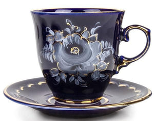 Enchantress Gzhel Hand-painted Gold Plated Dark Blue Porcelain Teacup with Saucer Set