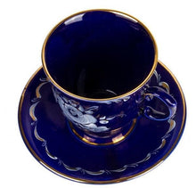 Load image into Gallery viewer, Russian Gzhel Hand-painted Gold Plated Dark Blue Porcelain Teacup with Saucer Set
