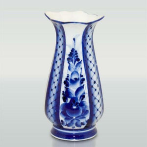 Gzhel Hand-Painted Blue and White Porcelain Vase Russian