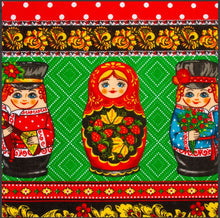 Load image into Gallery viewer, Kitchen Towel Matryoshka Polka Dots Cotton Imported from Russia