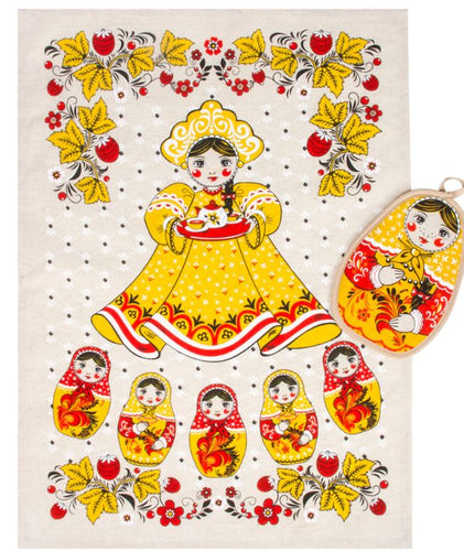 Cotton/ Linen Kitchen Towel & Potholder Set Matryoshka Beauty Girl Imported from Russia